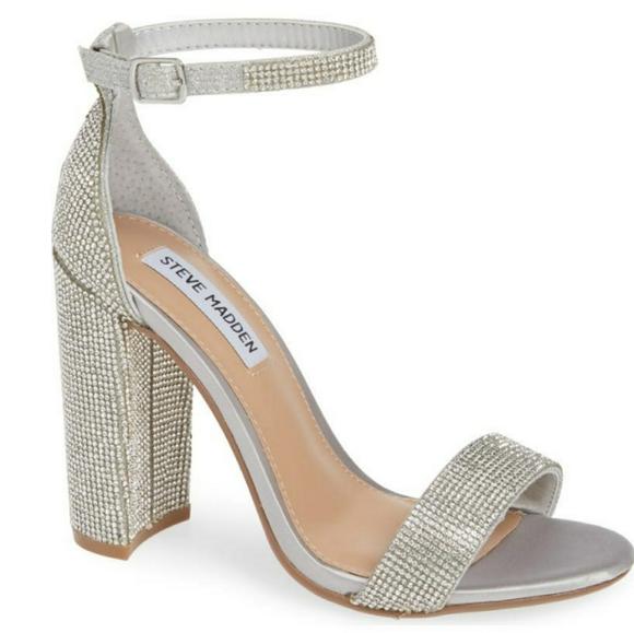 Steve Madden Carrson Crystal Block Heel Sandals